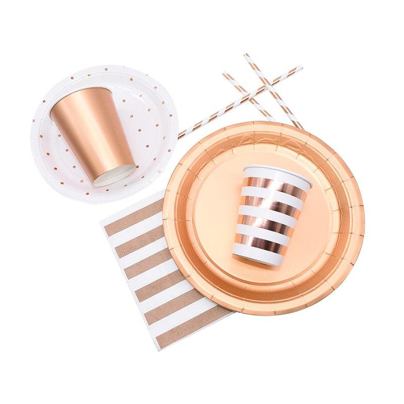 <font><b>Party</b></font> Disposable Rose Gold Plate Straws Supplies Kid <font><b>Party</b></font> Baby Shower <font><b>Party</b></font> Supplies