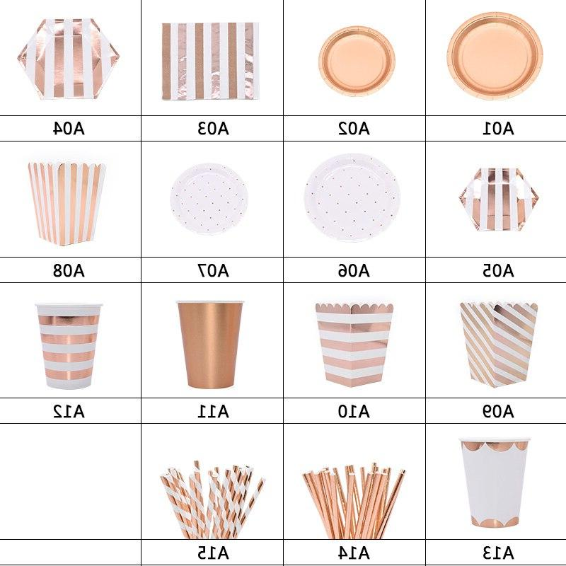 <font><b>Party</b></font> Rose Gold Paper Plate Supplies for Kid <font><b>Party</b></font> <font><b>Decor</b></font> Baby Shower