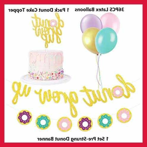 Glitter Donut Favors Set Cake Topper Kids Event De