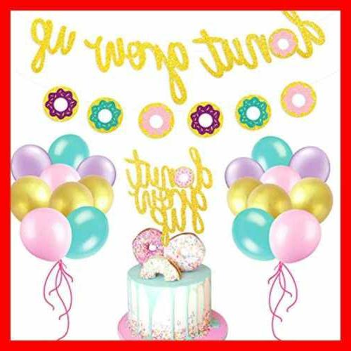 Glitter Donut Party Favors Set Banner Cake Event