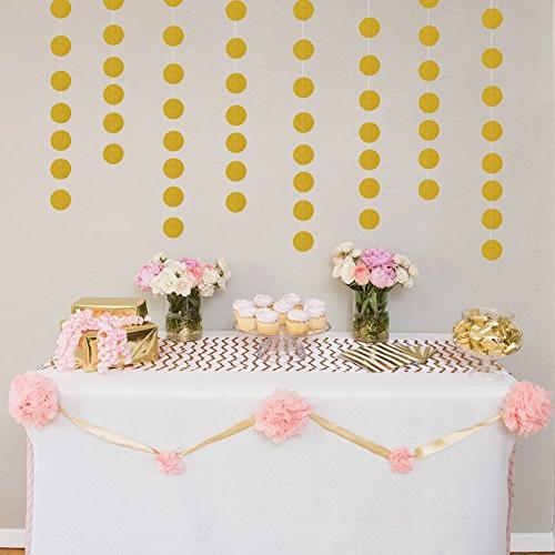 Threemart Glitter Decorations Garland,Gold Paper Dots Party decor Feet Long