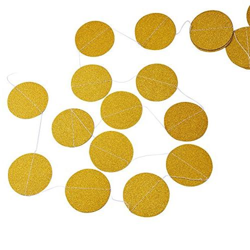 Threemart Glitter Party Garland,Gold White Circle Paper Dots Hanging for Party decor 26 Long