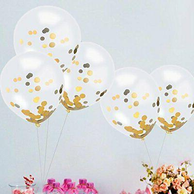 Gold Confetti 30 Pieces, Inches Balloons With Golden Paper Con
