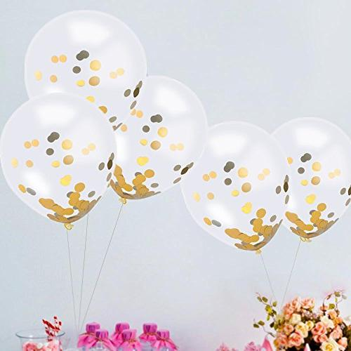 SINKSONS Gold Confetti 12 Inches Party Balloons Golden Paper Party And