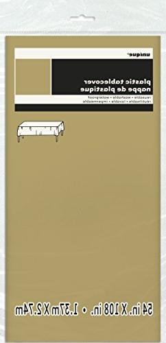 Gold Plastic Table Cover 54'' x 108'' Rectangle