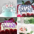 Gold Silver Cake Topper Happy Birthday Party Supplies Decora