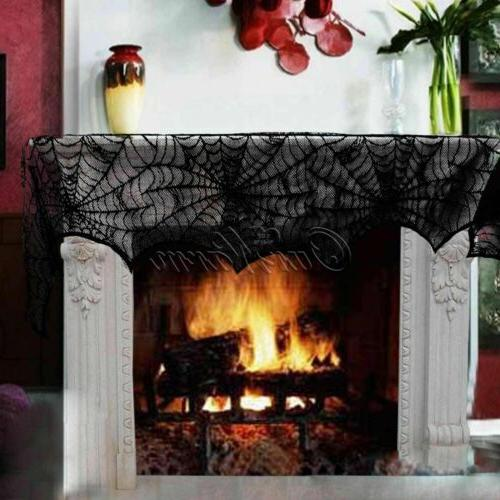 Halloween Decorations Black Lace Fireplace Mantle Scarf Cover