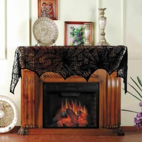 Halloween Decorations Props Black Lace Spiderweb Mantle Scarf Cover