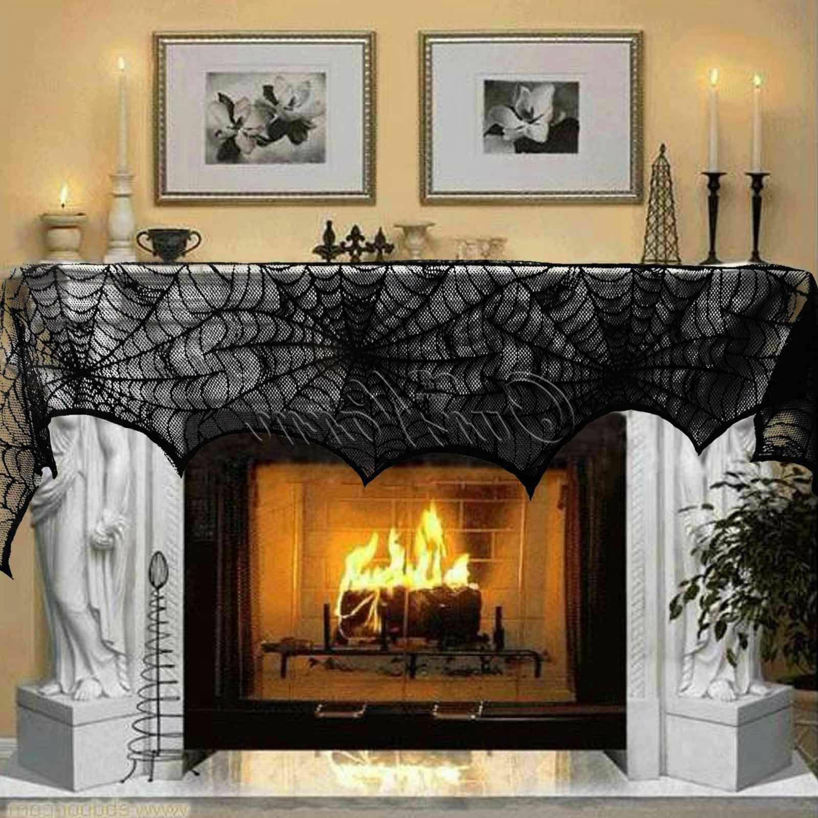 halloween decorations props black lace spiderweb fireplace