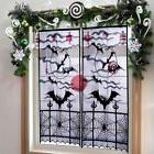 Halloween Window Silhouette Lace Curtain Black Bats Draperie