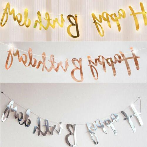 Happy Birthday Banner Bunting Hang Garland Party Decor Banne