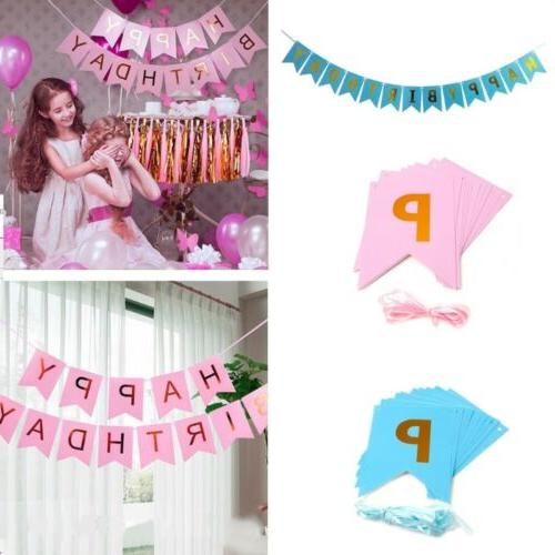Happy Birthday Banner Kids Child Boy Girl Party Decorations