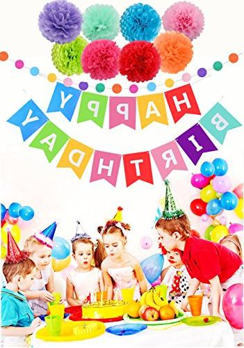 Threemart Birthday Banner with Poms Party