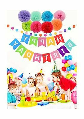 Threemart Happy Birthday Banner with Poms for