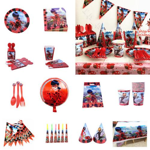 Kids Miraculous Ladybug Birthday Party Supplies Favor Tablew
