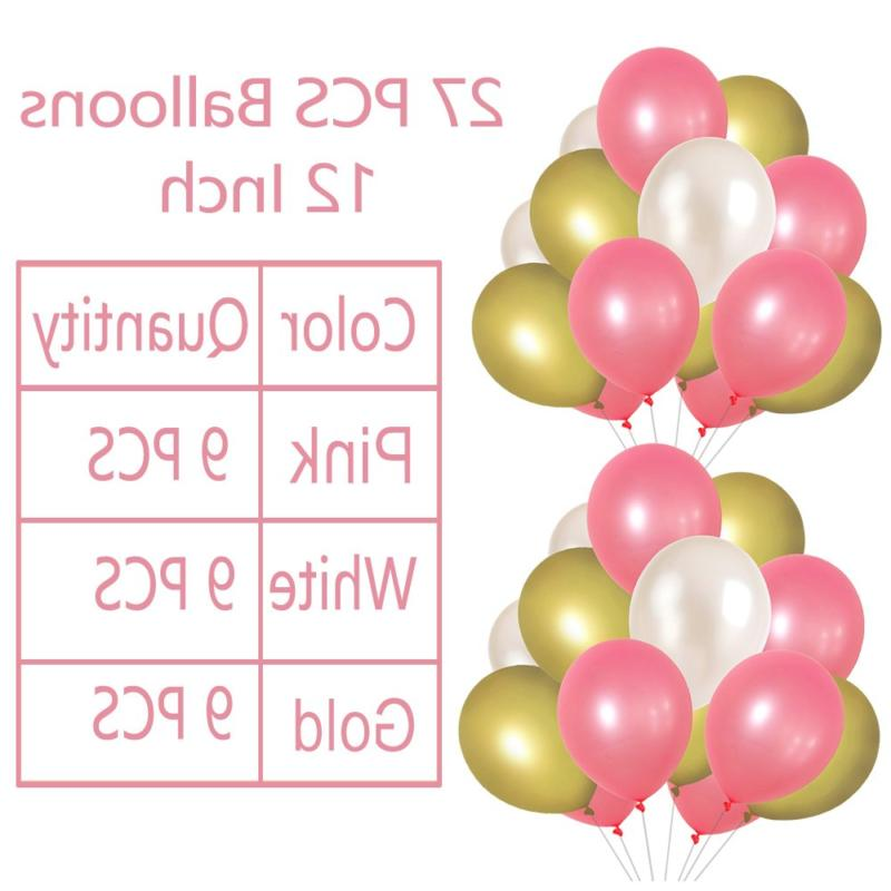 LITAUS Pink and Gold Birthday Decorations, Happy