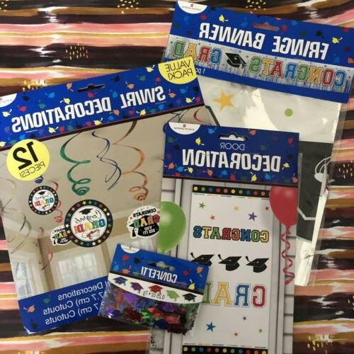 lot of 4 graduation party decorations banner
