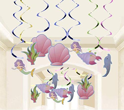 Mermaid Hanging 30-Count Ceiling Ocean Fantasy for Decor in 3 Pink, Blue, Inches in