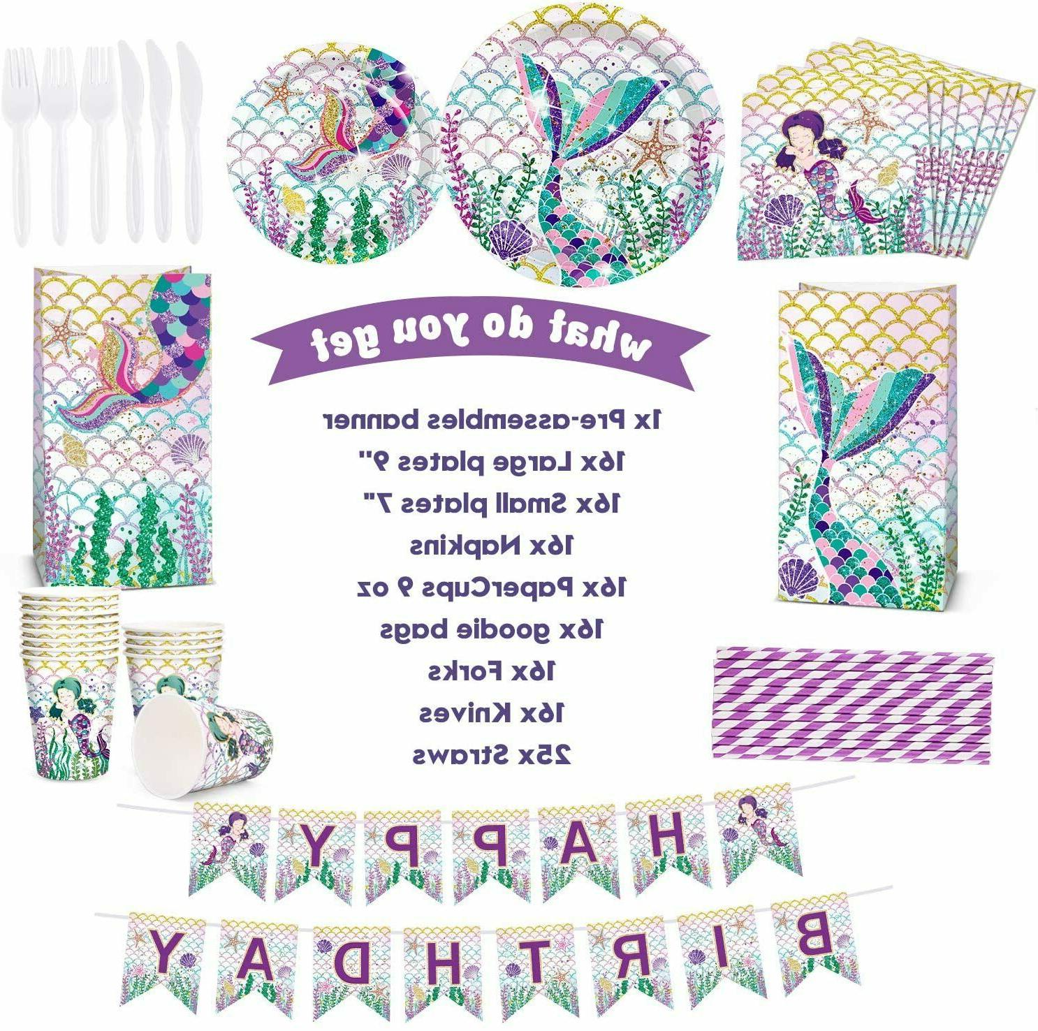 Threemart Supplies Favor Kit-Mermaid Birthday Decoration For Girls