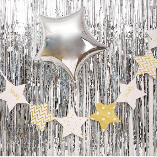 Metallic Foil Tinsel Photo Party Birthday Decor