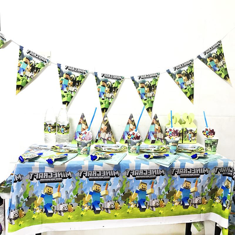 minecraft theme cartoon plate tablecloth baby shower