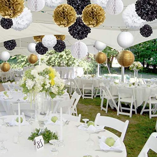 22 Piece White Table Wall Party Hanging Paper Poms, Birthday Celebrations, Decor