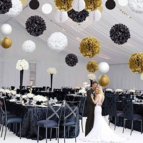 22 White Party Hanging Poms, Balls Birthday Celebrations, Decor