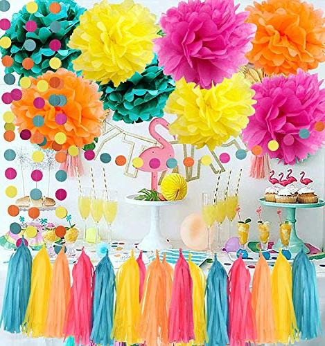 Moana Color Party Supplies Moana Teal Tissue Paper Pom Tassel Garland Party Decorations/Hawaiiian Supplies
