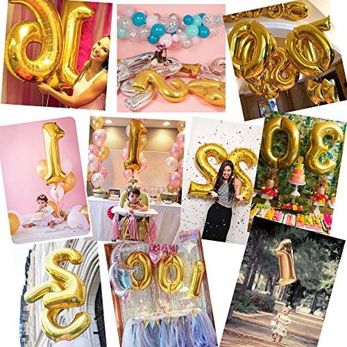 DRRE Number Balloon Gold inch Birthday Graduation Party Supplies 3