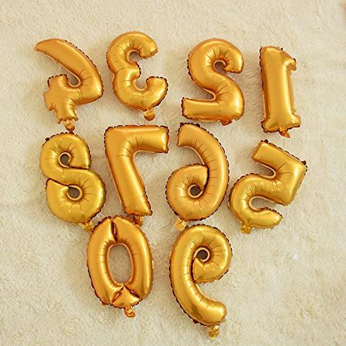 DRRE Number Balloon 3 Gold Aluminum inch Balloon Decoration Birthday Anniversary Party Supplies 3