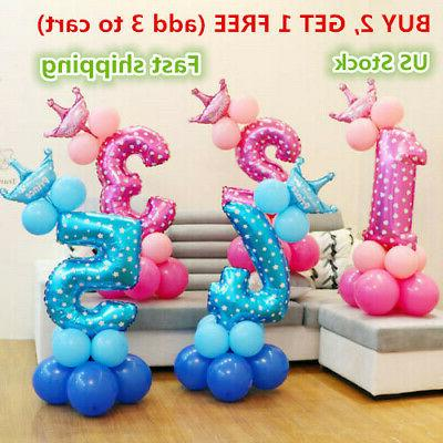 number foil balloons set giant digit happy
