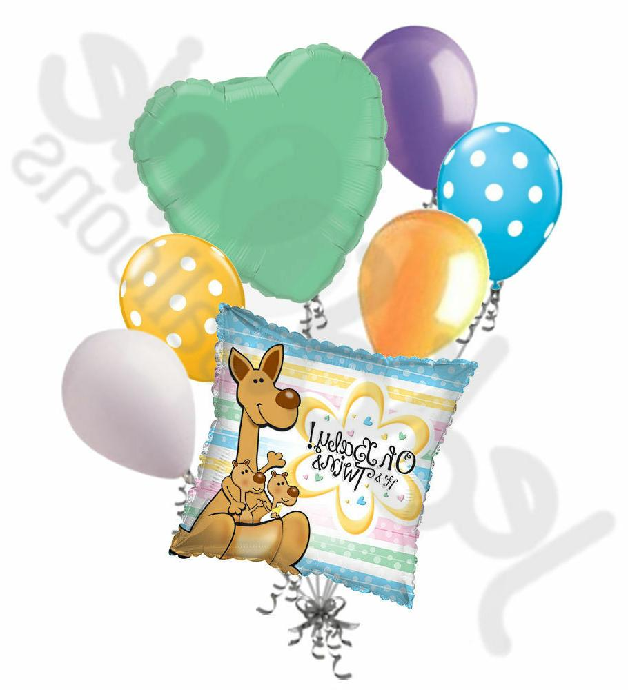 7 pc Oh Baby!  It's Twins Kangaroo & Joeys Balloon Bouquet P