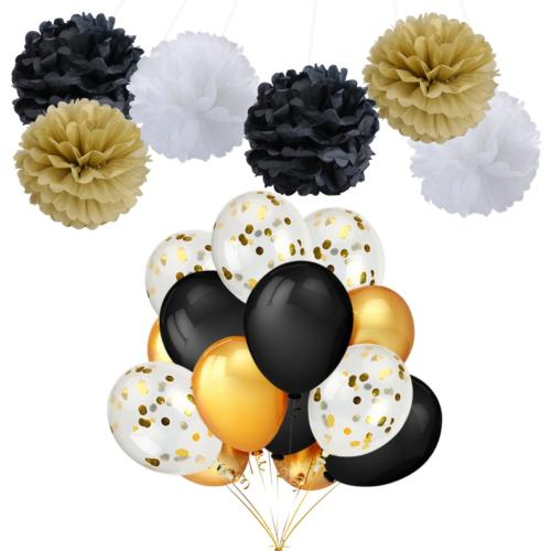 "Leesky Party Balloons Decorations 12 Pack 12"" GOLD Confetti"