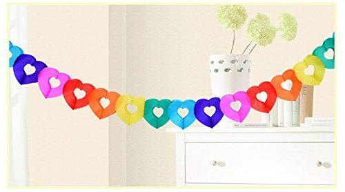 Joewyle Supplies Party, Colorful Rainbow Paper Heart