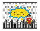 Personalized Super Hero Boy Theme Sign Birthday Party Decora