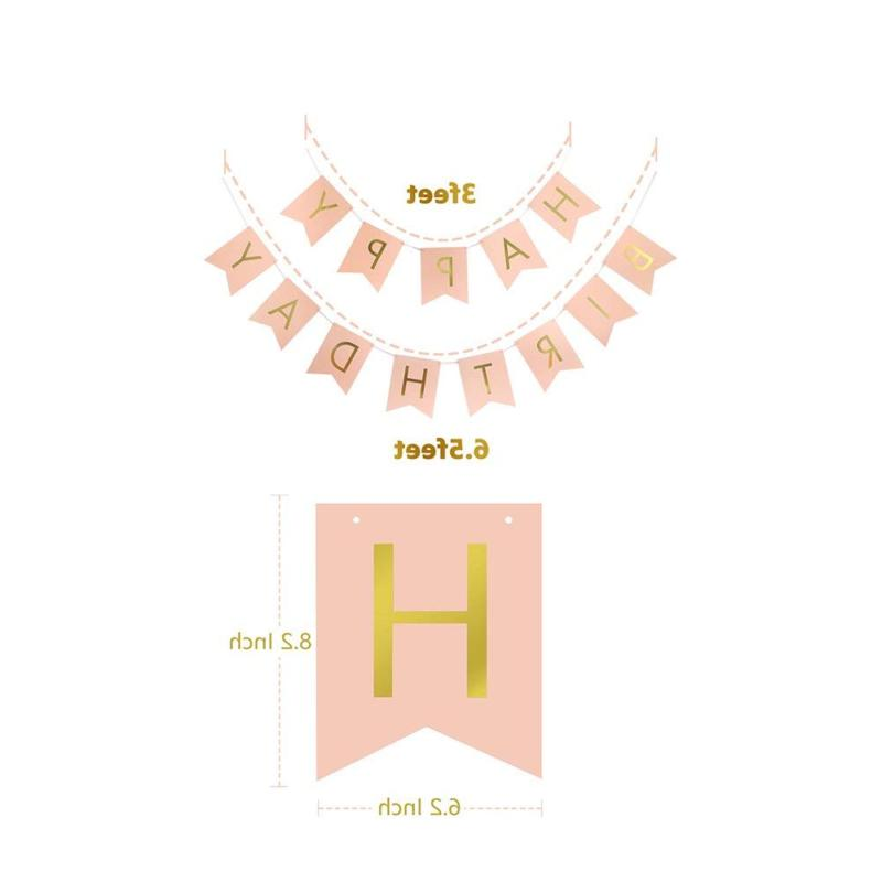 LITAUS Pink Birthday Decorations, Happy
