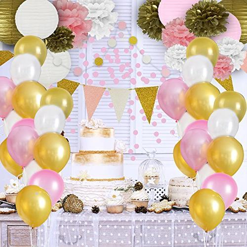Pink and Gold Decorations, 50 pc Party Supplies, Paper Poms, Lanterns, Garlands, Confetti- Party - Ballerina Party Bachelorette