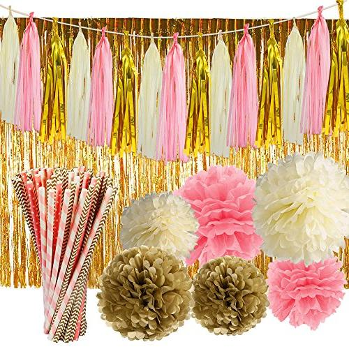pink gold party supplies