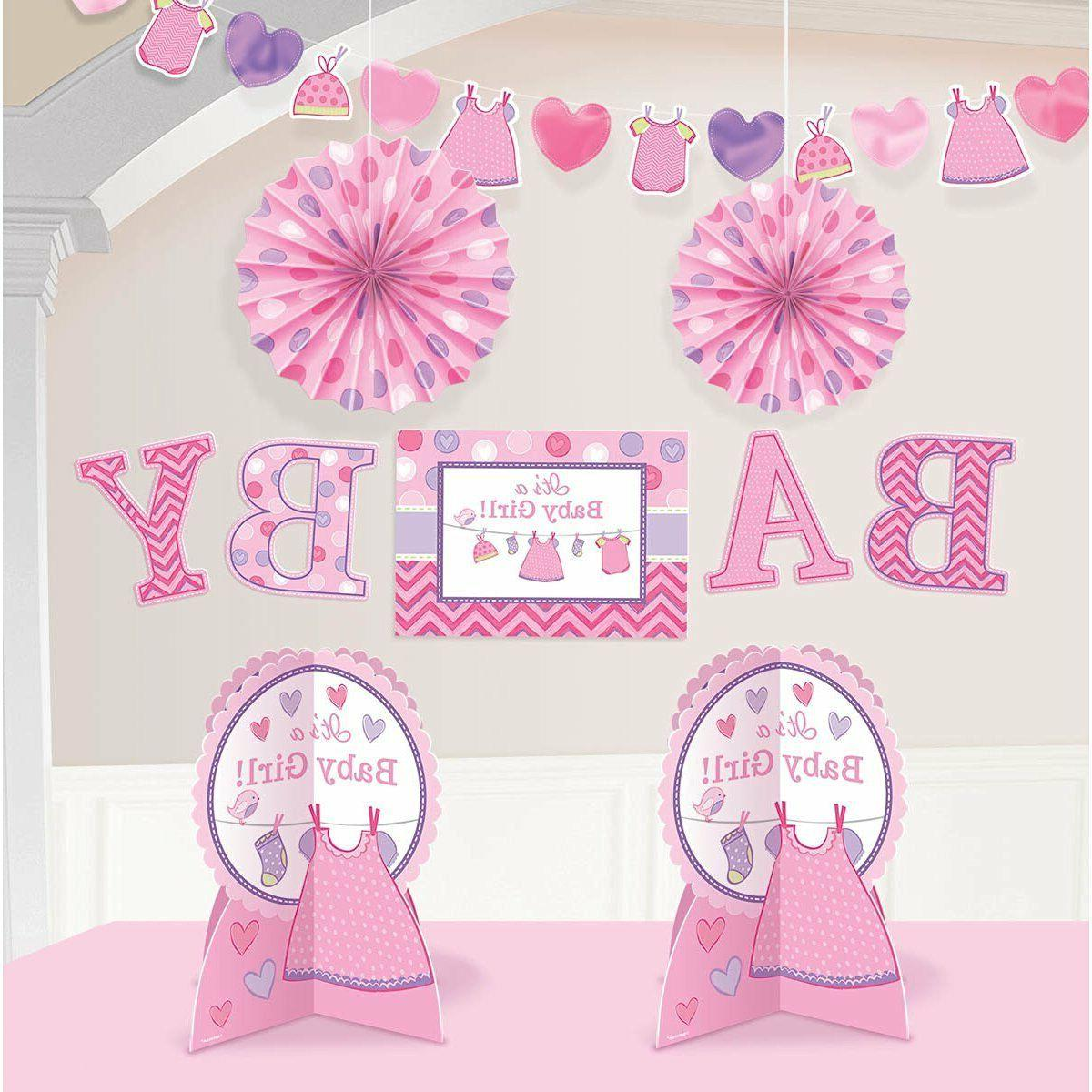"""Girl Pink Baby Shower Decorating Kit Party Decorations  14"""""""