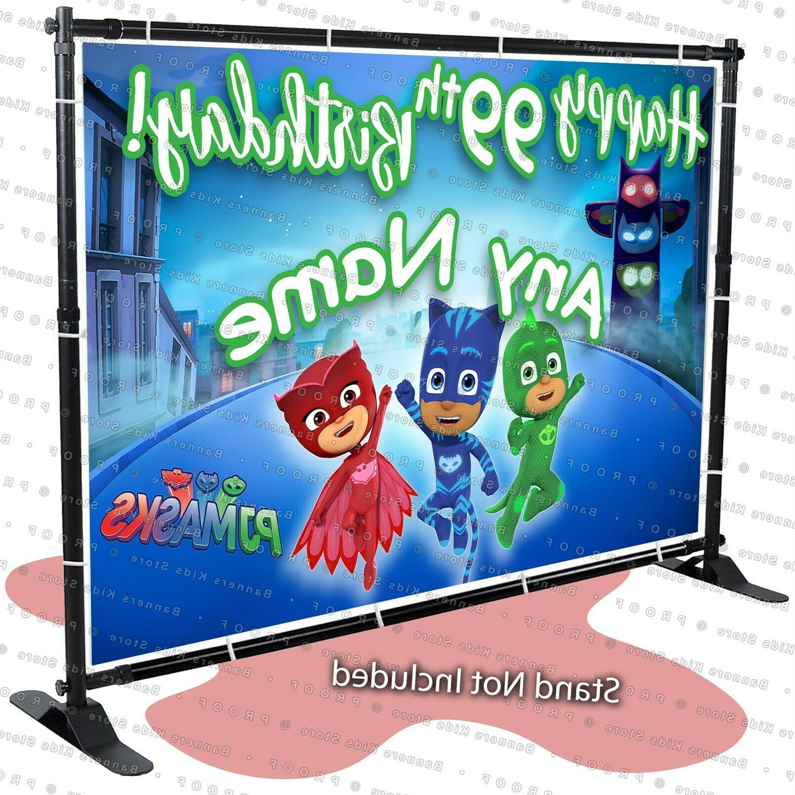 pj mask birthday banner party backdrop decoration