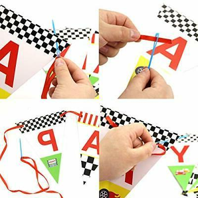 Race Car Birthday Banner for Kids Party Decoration Supplies