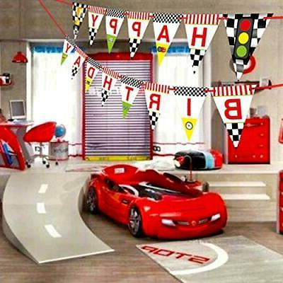 Race Birthday Banner for Kids Decoration