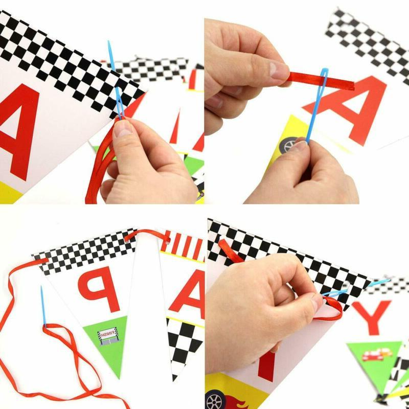 Race Car Happy Birthday Banner for Kids Decoration Supplies Pennant