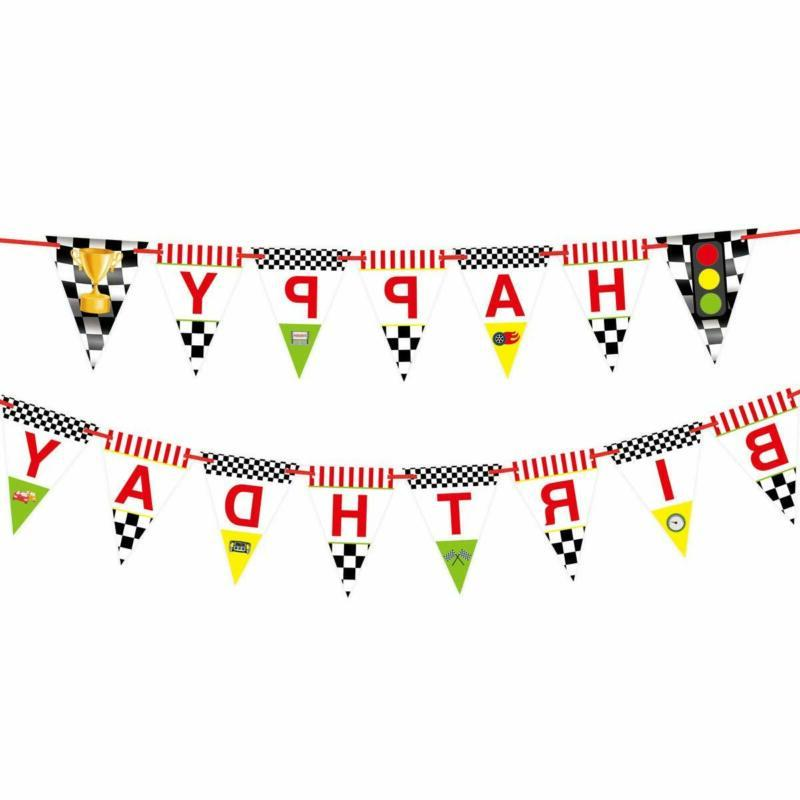 Race Happy Banner for Kids Party Decoration
