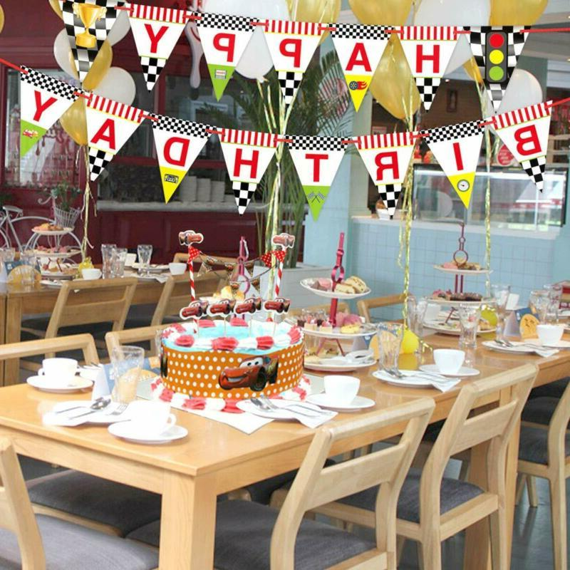 Race Happy Birthday Banner Party Decoration