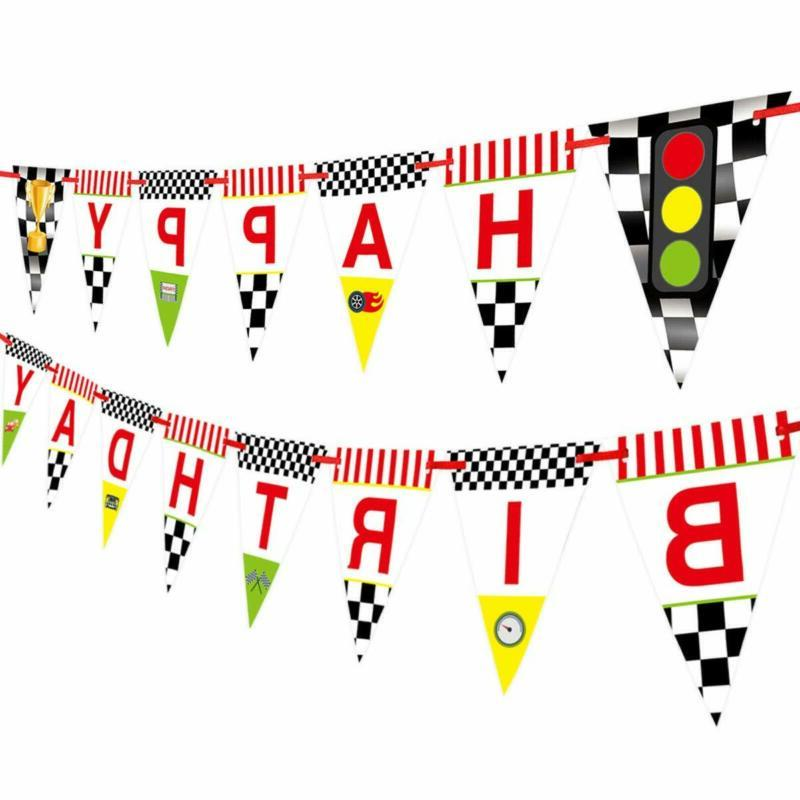 race car happy birthday banner for kids