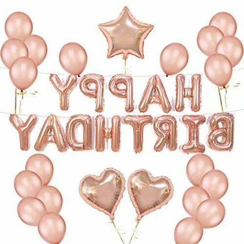 Rose Gold Set Latex Foil Decorations Happy Party USA