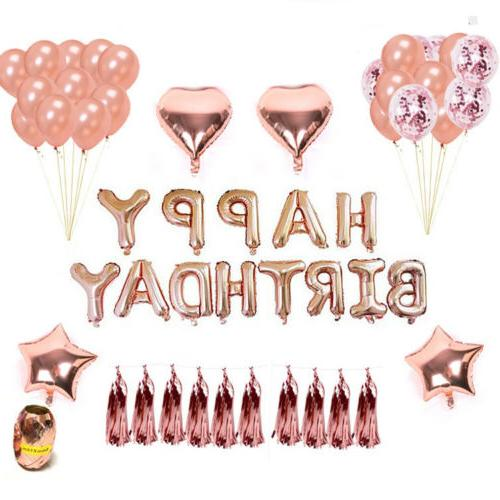 Rose Gold Latex Foil Kit Happy Birthday Party USA
