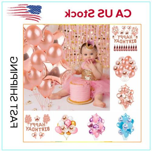 Rose Gold Foil Balloon Set Confetti Balloons Bouquet Happy B