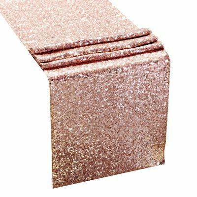 sequin table runners rose gold
